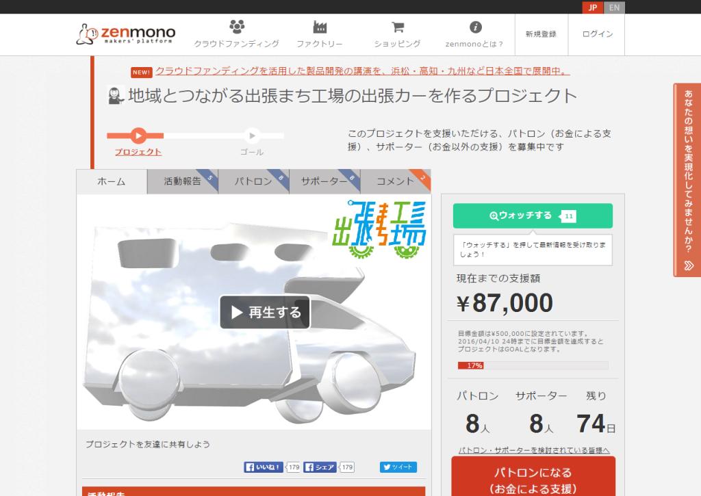 地域とつながる出張まち工場の出張カーを作るプロジェクト zenmono(ゼンモノ)